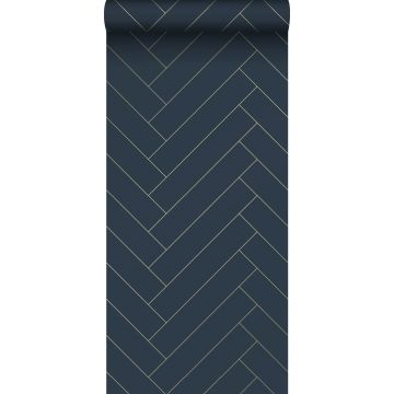 ESTAhome behang visgraat-motief donkerblauw en goud