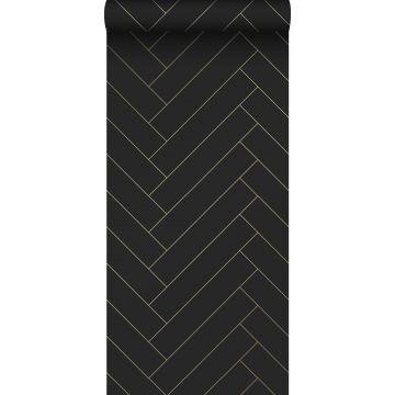 ESTAhome behang visgraat-motief zwart en goud