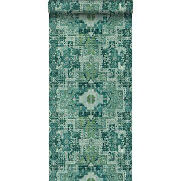 behang oosters kelim tapijt smaragdgroen van ESTA home