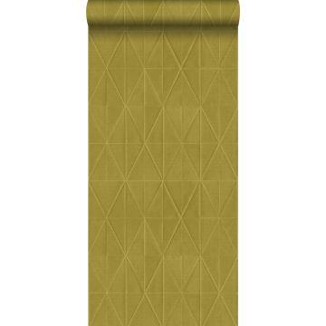 eco texture vlies behang origami motief okergeel van ESTA home