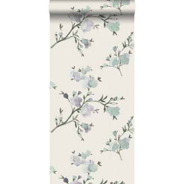eco texture vlies behang kersenbloesems beige en lila paars van ESTA home