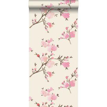 eco texture vlies behang kersenbloesems roze van ESTA home