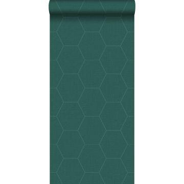 behang hexagon-motief petrolgroen van ESTA home