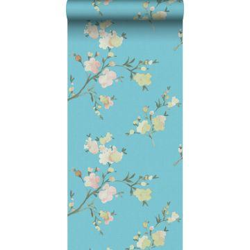 eco texture vlies behang kersenbloesems Van-Gogh-blauw van ESTA home