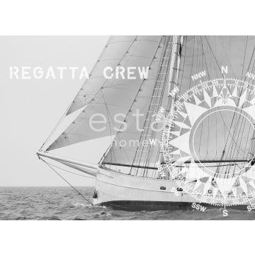 fotobehang zeilboot zwart en wit van ESTA home