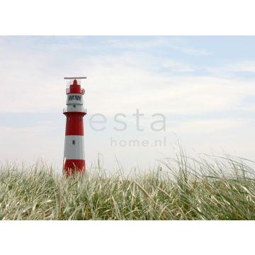 fotobehang vuurtoren rood, wit en groen van ESTA home