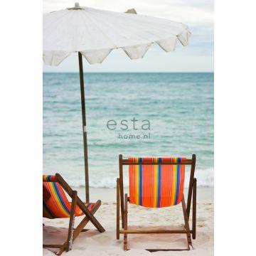 fotobehang strand zeegroen en oranje van ESTA home