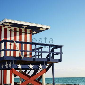 fotobehang strandhuis rood, wit en blauw van ESTA home