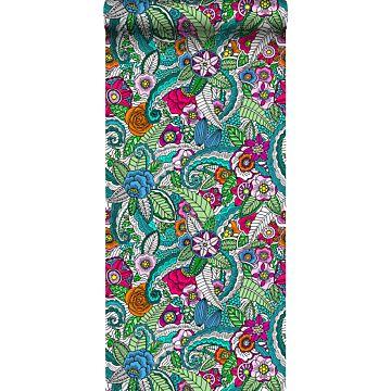 vlies wallpaper XXL bloemen mandala's roze, groen, oranje, paars en blauw van ESTA home