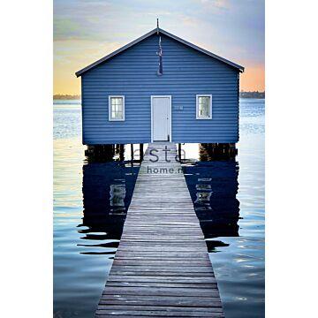 fotobehang strandhuis blauw, grijs en avondrood van ESTA home