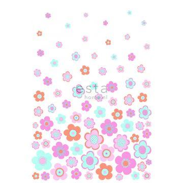 fotobehang vintage bloemen turquoise, roze en paars van ESTA home