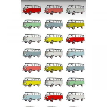 vlies wallpaper XXL vintage transporters geel, blauw, grijs, rood en groen van ESTA home