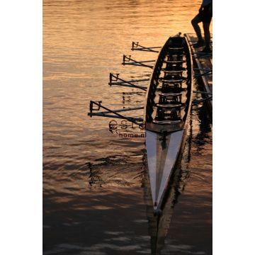 fotobehang roeiboot bruin en oranje van ESTA home