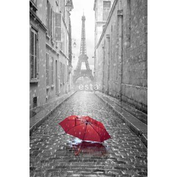 fotobehang Parijs city view grijs en rood van ESTA home