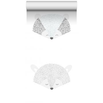 vlies wallpaper XXL dierenkoppen lichtgrijs en zwart van ESTA home