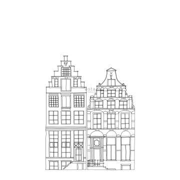 fotobehang getekende Amsterdamse grachtenhuisjes zwart en wit van ESTA home