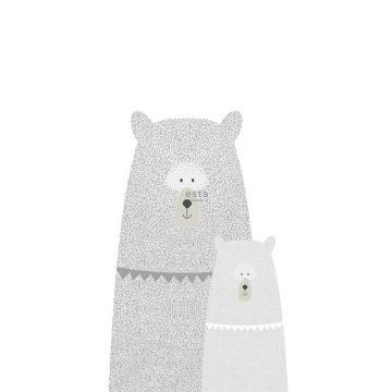 fotobehang beren moeder en kind lichtgrijs van ESTA home