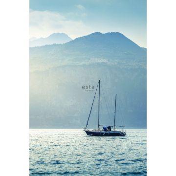 fotobehang zeilboot blauw van ESTA home