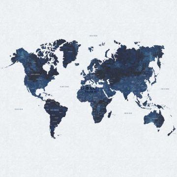 fotobehang vintage wereldkaart blauw van ESTA home