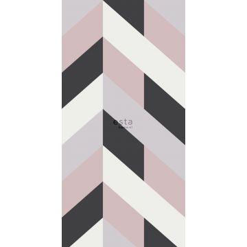 fotobehang visgraat-motief zwart, wit en oudroze van ESTA home
