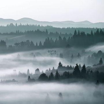 fotobehang mistige bergen groen van ESTA home