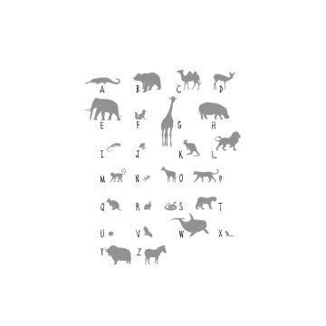 fotobehang dieren ABC grijs van ESTA home
