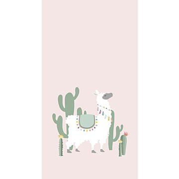 fotobehang alpaca zacht roze en groen van ESTA home