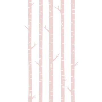 fotobehang berken boomstammen zacht roze van ESTA home