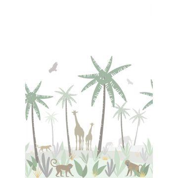fotobehang jungle dieren groen, grijs en bruin van ESTA home