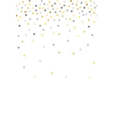 fotobehang confetti dots geel en grijs van ESTA home