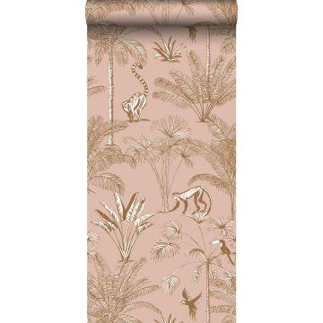 vlies wallpaper XXL jungle-motief perzik roze van ESTA home