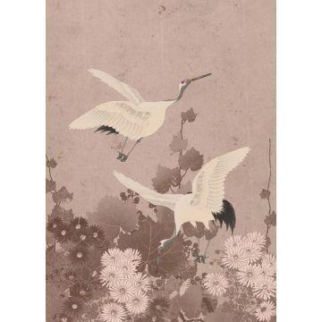 fotobehang kraanvogels grijs roze van ESTA home