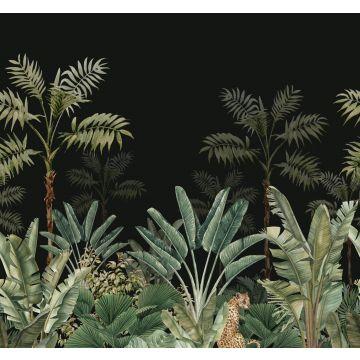 fotobehang jungle-motief zwart en vergrijsd groen van ESTA home