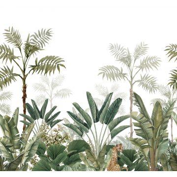 fotobehang jungle-motief wit en vergrijsd olijfgroen van ESTA home