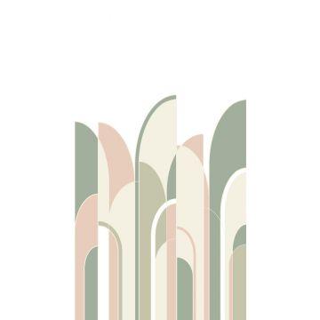 fotobehang art deco motief vergrijsd groen, perzik roze en wit van ESTA home