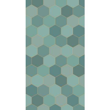 fotobehang hexagon-motief zeegroen en petrolblauw van ESTA home