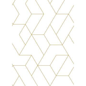 fotobehang grafische lijnen wit en goud van ESTA home