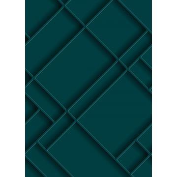 fotobehang wandpanelen diagonaal petrolblauw van ESTA home