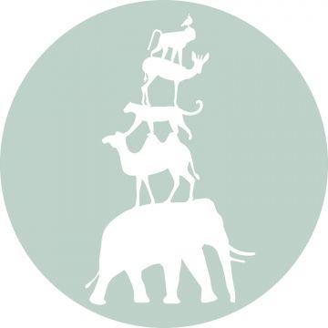 zelfklevende behangcirkel gestapelde dieren mintgroen en wit van ESTA home