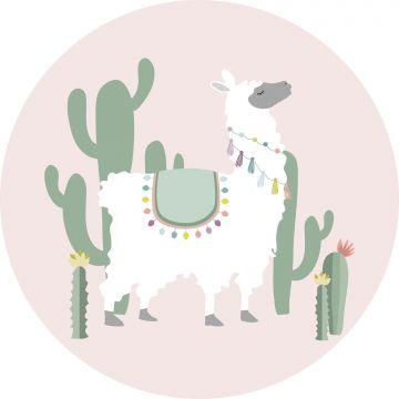 zelfklevende behangcirkel alpaca roze en groen van ESTA home