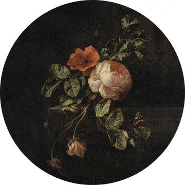 zelfklevende behangcirkel bloemstilleven donker rood en zwart van ESTA home