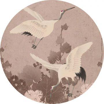 zelfklevende behangcirkel kraanvogels grijs roze van ESTA home