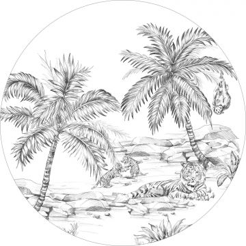 ESTAhome zelfklevende behangcirkel safari pentekening zwart wit