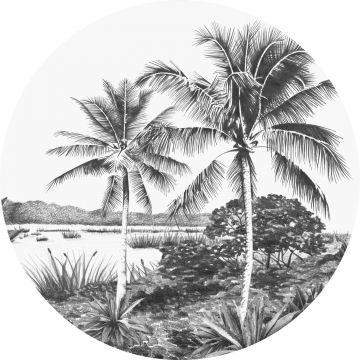 ESTAhome zelfklevende behangcirkel tropisch landschap met palmbomen zwart wit