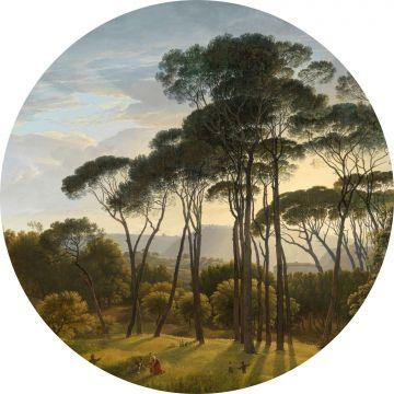 ESTAhome zelfklevende behangcirkel Italiaans landschap donkergroen