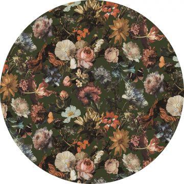 ESTAhome zelfklevende behangcirkel bloemen vergrijsd olijfgroen