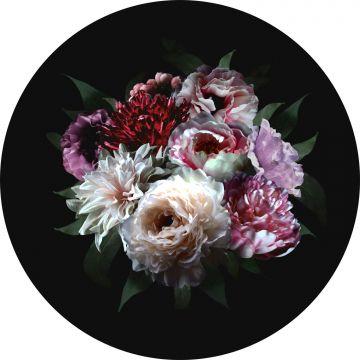 ESTAhome zelfklevende behangcirkel bloemstilleven multicolor op zwart