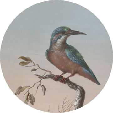 ESTAhome zelfklevende behangcirkel ijsvogel op tak avondrood