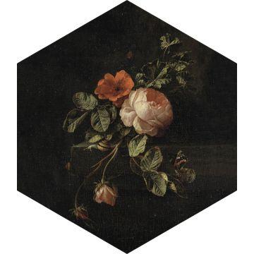 ESTAhome muursticker bloemstilleven zwart, groen en roze