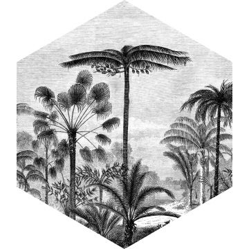 ESTAhome muursticker tropisch landschap met palmbomen zwart wit